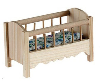 unfinished dollhouse furniture. Miniatures Dollhouse Furniture Baby Crib Unfinished Wood With Mattress - 577 I