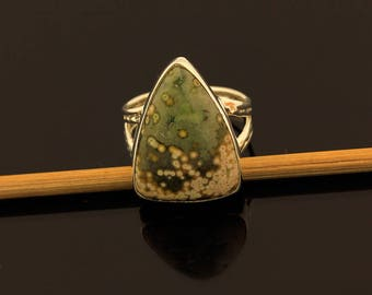 Ocean Jasper Ring // 925 Sterling Silver // Ring Size 5.5 // Handmade Jewelry