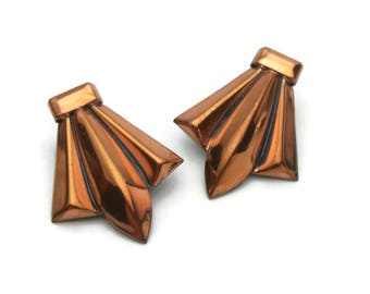 Vintage Renoir Copper Clip On Earrings, Modern Art Deco Fleur de Lis, 1950s Jewelry, 50s Mid Century Signed Designer