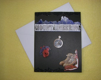 Mountaineering Handmade Greeting Card, All Occasion Just Because Blank Card, hiking boots, backpack, compass, mountains, climbing