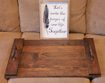 Rustic Tray, Wooden Tray, Ottoman Tray, Coffee Table Tray, Gifts for Him, Rustic Decor