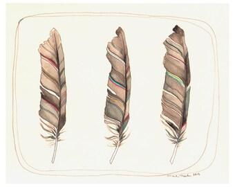 Feather Art - Art - Print - Watercolor Art Print - Feather Print - Feather Artwork - Illustration - Feathers - 8x10 Print - Three Feathers