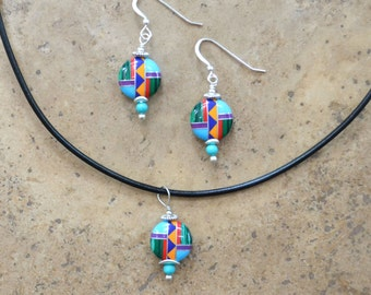 Multi Inlay Coin/Dime shape Earrings, Necklace, & SET (Zuni Fetish style), beaded with Turquoise balls