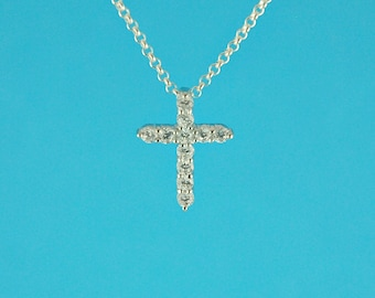 sterling silver pendant, CZ - sterling silver cross with cubic zirconias - cross charm - crystal cross - cubic zirconia cross (1x)