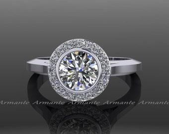Moissanite Ring, Forever One Moissanite Engagement Ring, Rose Gold Diamond Halo Ring, 14K White Gold, RE4W