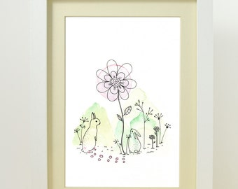 nursery wall art - art print from original watercolor and ink illustration