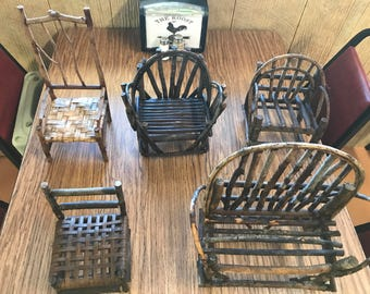 Miniature wooden chairs