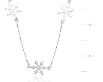 Silver Snowflake Necklace - IJ1-1338