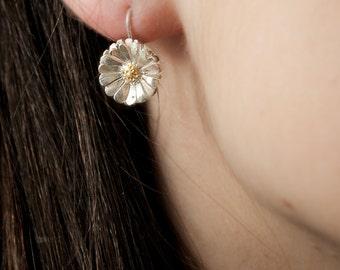 Flower Earrings, Daisy Earrings, Boho Earrings, Silver Flower Earrings, Bridal Earrings, Dangle Earrings, Handmade Item, Gold Plated