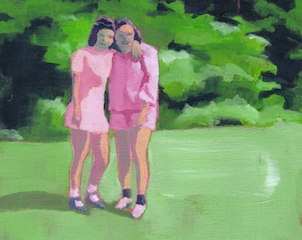 Best Friends - Giclee print of an original painting art reproduction sisters sister bff best friend friendship women girls art decor poster
