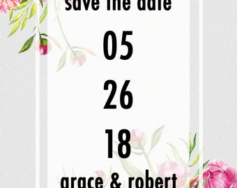 Pink and Yellow Floral Save The Date