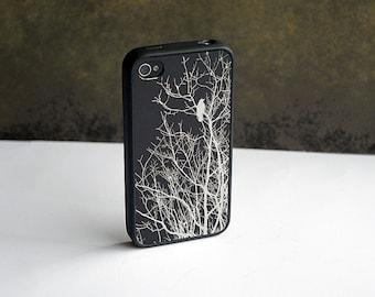 iPhone 8 Case, Black and Silver Bird Custom iPhone Silicone Case, iPhone 8 Plus Case