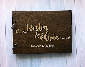 Wedding guest book Rustic Guest book Wood Guest Book Custom Guest Book personalized wedding guestbook for wedding Laser engraved GB