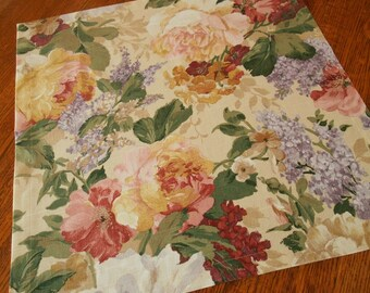 Floral Table Linens, Square Table Topper, Flower Tablecloth, Shabby Cottage Chic Decor, Lavender Red and Cream, Vintage-Look Bedroom Decor