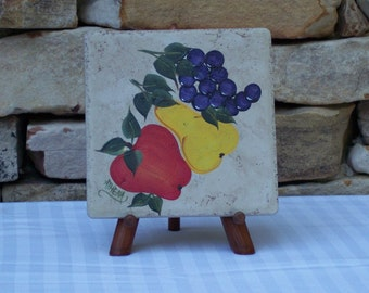 Hand Painted Tile Trivet with Fruit (apple, pear and grapes)