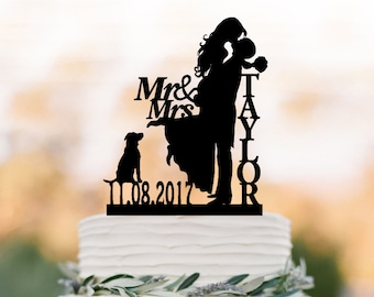 Personalized Wedding Cake topper with dog,  bride and groom silhouette  wedding cake topper, custom anem and date cake topper