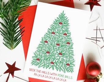 """Funny Pokemon Christmas Card 'Deck the Halls with Poke Balls"""""""