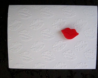 Love card, Lips, Sealed with a kiss card, Embossed Card