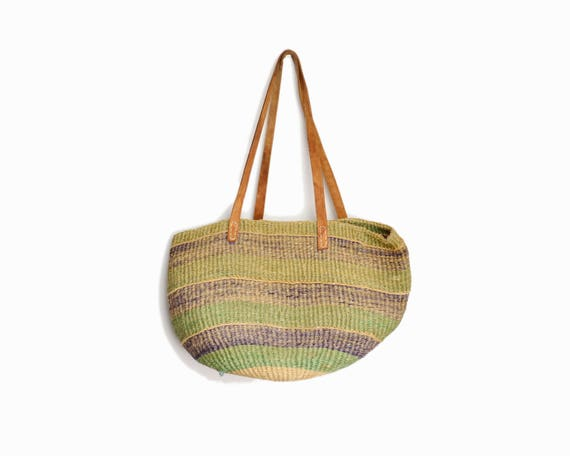 Vintage Striped Jute Tote Bag / Market Bag / Leather Strap Straw Bag / Boho Jute Purse