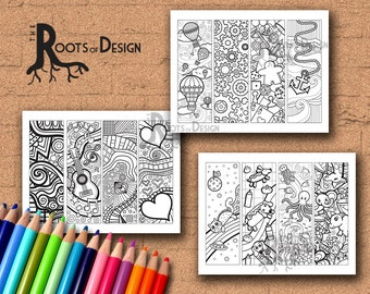 INSTANT DOWNLOAD Coloring Page - Color your own fun bookmarks bundle pack, doodle art, printable, Coloring bookmarks,