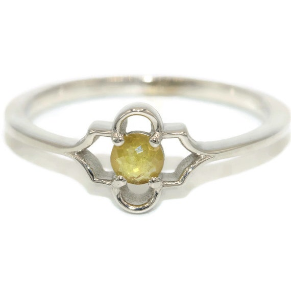 Rustic Diamond: Rustic Diamond Ring Natural Yellow Rose Cut Diamond Wedding