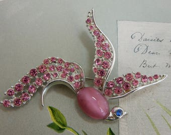 Vintage PINK Moonglow & Rhinestone Bird of Paradise Brooch    ODT14
