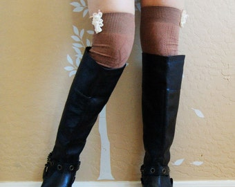 Beautiful Lacy Brown boots socks. brown long socks,cute gift for her,Christmas gift ,lace socks