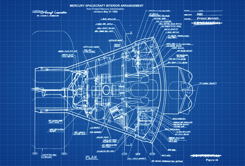 Mercury spacecraft blueprint space art aviation art zoom malvernweather Images
