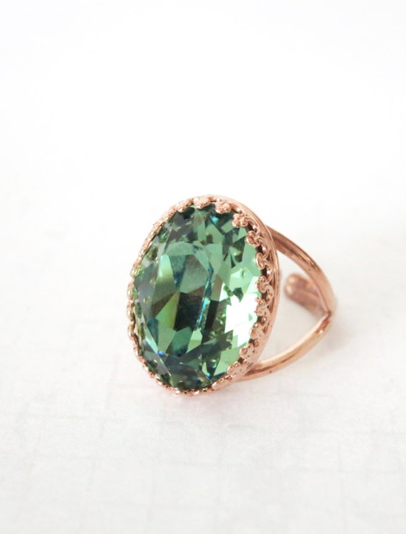 50%off SALES - Rose Gold Swarovski Crystal Cocktail Ring - Erinite Green Oval Crystal Rose Gold Adjustable Ring, elegant, fashion