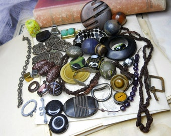 SALE Dark Rustic Mixed Necklace & Assemblage Supply Lot  - Focal Beads, Antique Buttons, Clasps, Macrame Cord, Chain, Pendant, More