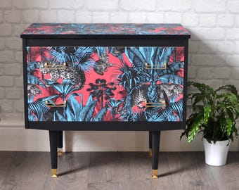 SOLD SOLD SOLD Upcycled Mid Century Vintage Retro Chest of Drawers Divine Savages Faunacation Decoupage
