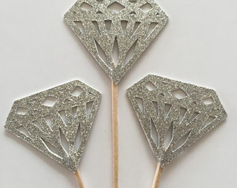 12 PCS Glitter Silver DIAMOND Cupcake toppers, Bridal shower, Birthday Party, Wedding, Table Decor