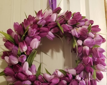 Spring Tulip Wreath - Purple