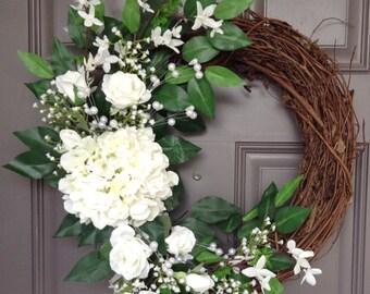 Wedding White Hydrangea, Pearl, and Rose Grapevine Wreath