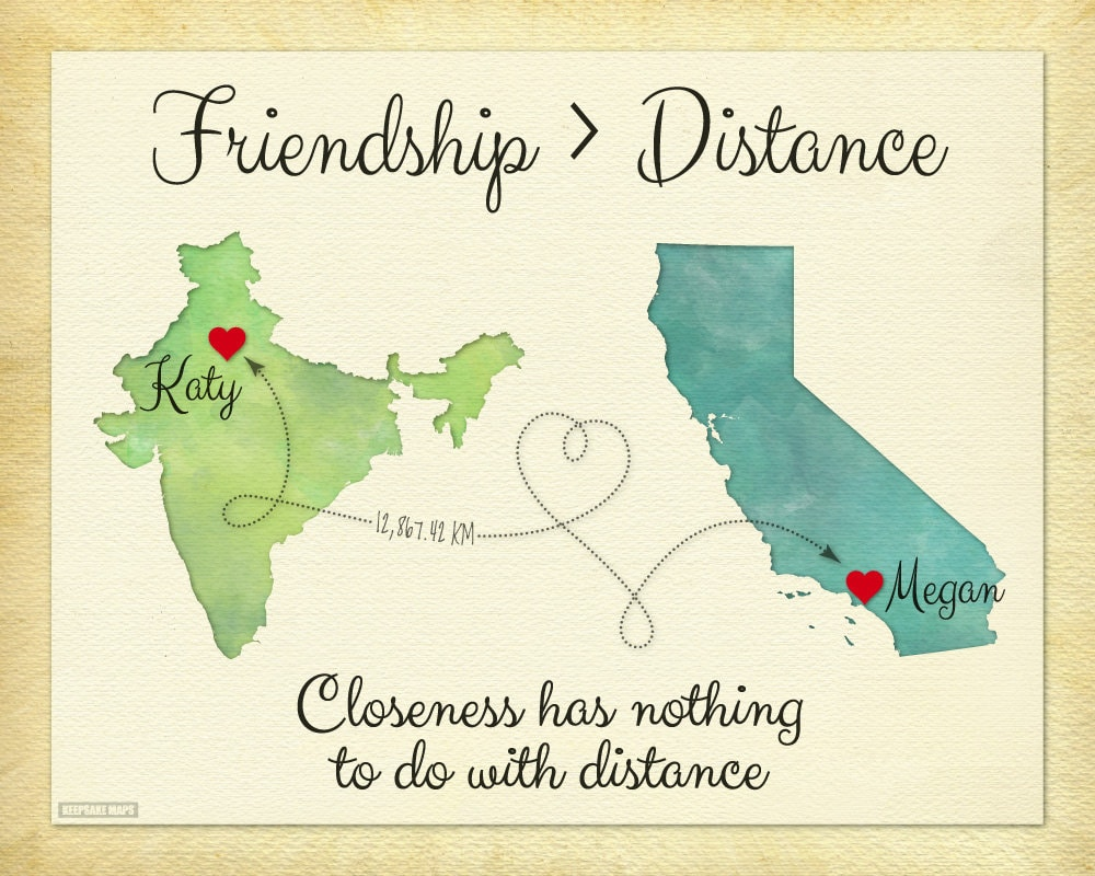 Quote About Distance And Friendship Friendship Is Greater Than Distance Gift Good Friend Long