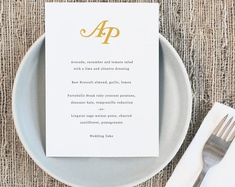 Printable Wedding Menu Template | INSTANT DOWNLOAD | Initials | 5x7 | Editable Colors | Mac or PC | Word & Pages