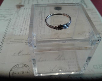 Artisan Made Small Silver Ring with a Twist Motif, 925