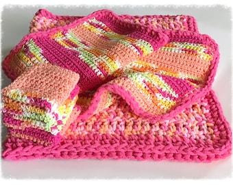 Handmade 6-Piece Candy Pink Baby Blanket Gift Set