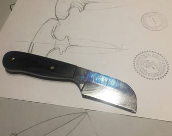 Custom hand forged damascus wharncliffe knife
