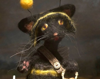 Needle Felted Black Cat Halloween Art Doll