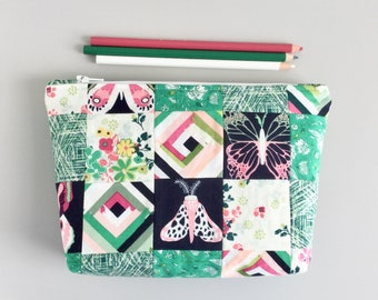 Colorful Pencil Pouch Butterflies Pink and green floral Makeup Bag Project Bag Zipper Pouch Supply Bag Toiletry Bag