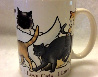 I Love Cats vintage 1980s coffee mug cup. Free ship