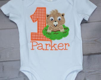Personalized Ground Hog Birthday Applique Shirt or Bodysuit Girl or Boy