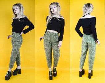90s Green Jaquard High Waist Trousers Pants S