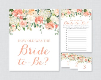 Peach How Old Was the Bride To Be Game - Printable Floral Bridal Shower Game - Guess the Bride's Age, How Old Was She - Peach and Cream 0028