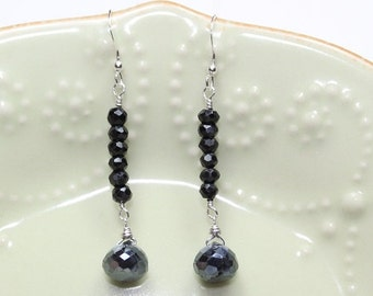 Mystic Black Spinel Earrings, Sterling Silver, Black Spinel Jewelry, Black Onions, Gemstone Jewelry