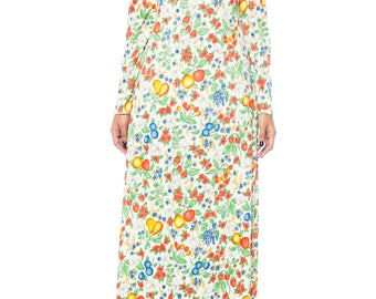 1970s Floral And Fruit Print Maxi Dress Size: 4