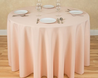 Charmant Round Peach Tablecloth Polyester | Wedding Tablecloth | Choose Size