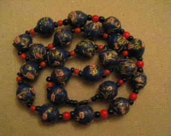 WEDDING CAKE Beaded Necklace Venetian MURANO Glass Navy Blue Colored Bead With Roses Necklace 1930's Vintage