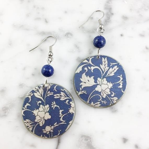 Resin earrings, flower, white, beige, blue, flower, sold, earring, hypoallergenic hook